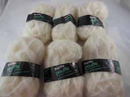 Lot 6 Skeins 40 gr. ea Bucilla Pouffe Yarn Vintage Ivory 77% Acrylic 23% Wool - $14.84