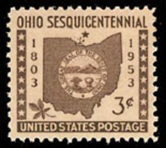 1953 3c Ohio Statehood Map, State Seal & Buckeye Leaf Scott 1018 Mint F/... - $0.99