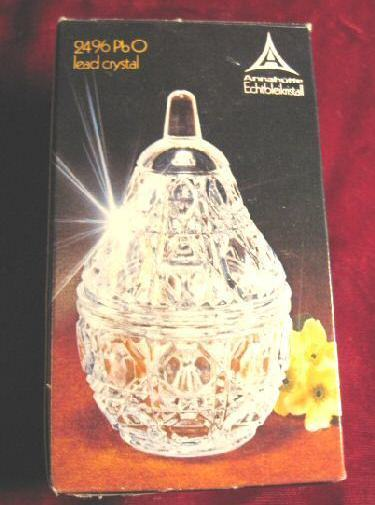 MINT Anna Hutte Lead Crystal Star Pear Box Germany