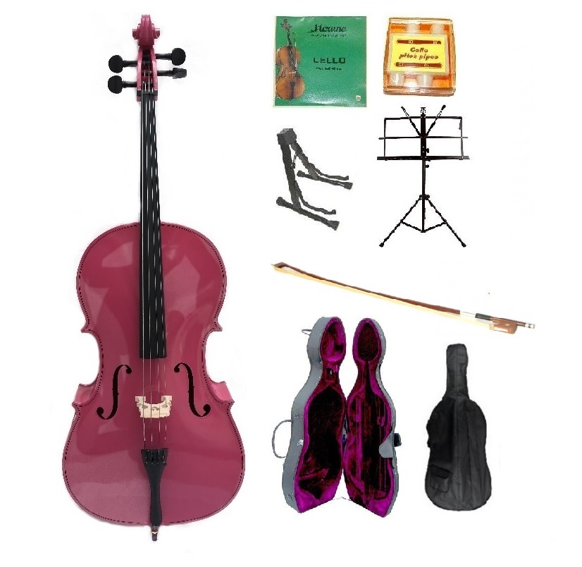 Merano 4/4 Size Hot Pink Cello,Case,Bag,Bow,String,Tuner,Cello Stand,Music Stand