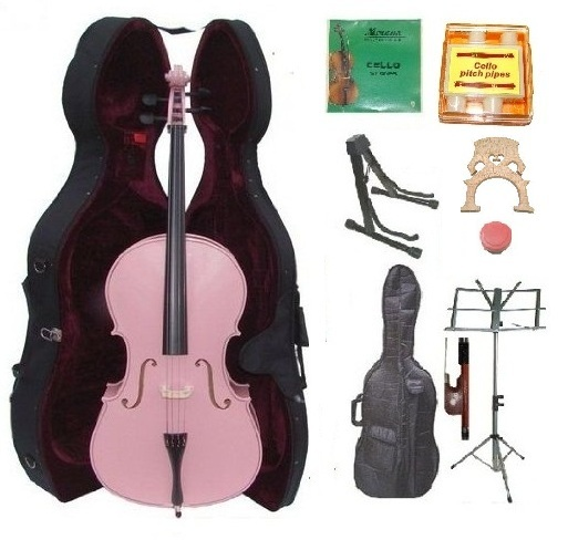 Crystalcello 3/4 Size Pink Cello,Case,Bag,Bow,Strings,Tuner,2 Bridges,2 Stands