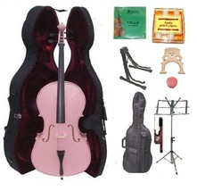 Crystalcello 3/4 Size Pink Cello,Case,Bag,Bow,Strings,Tuner,2 Bridges,2 ... - $399.99