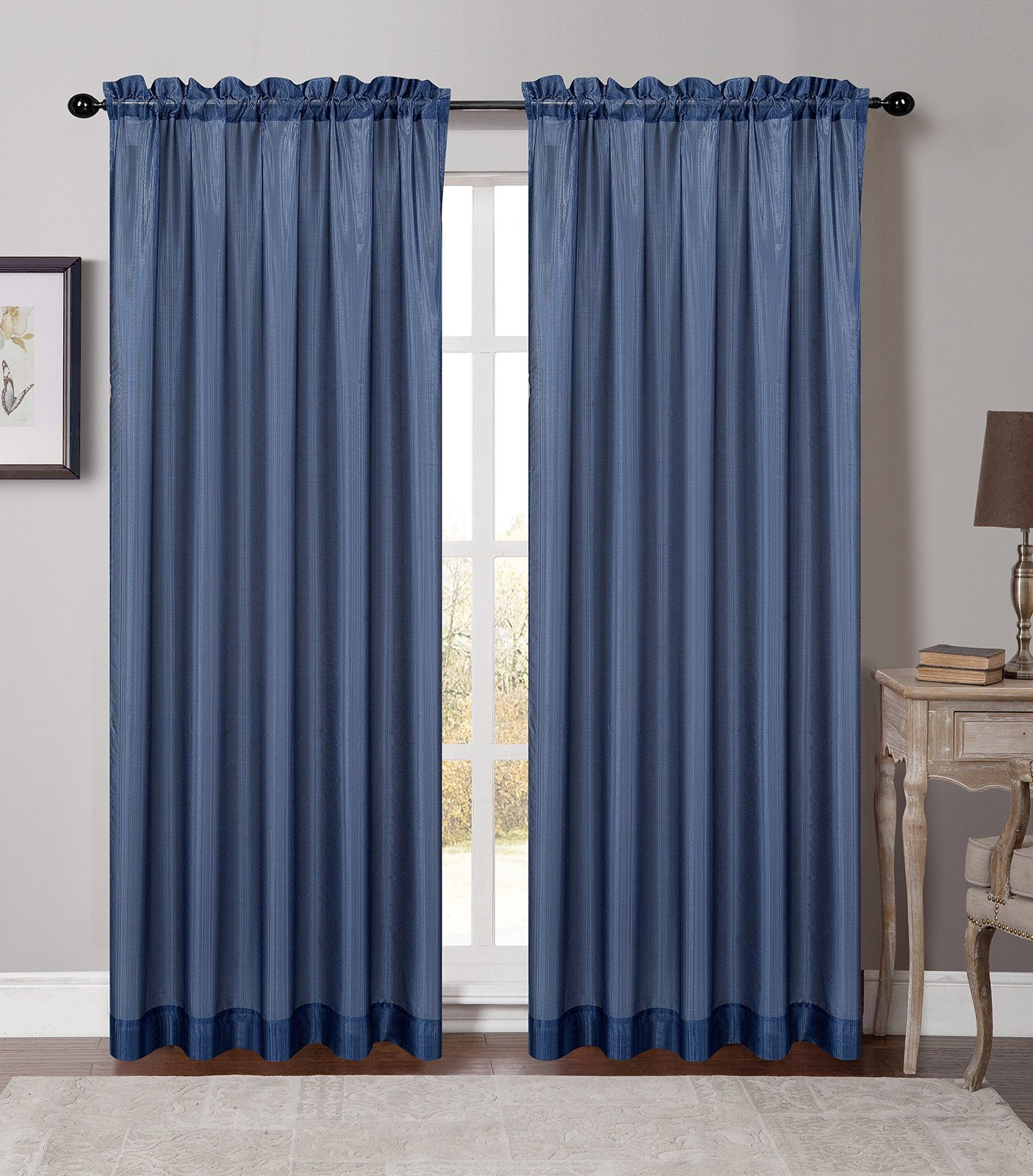 Urbanest 54-inch by 96-inch Set of 2 Soho Sheer Drapery Curtain Panel, Blue image 2