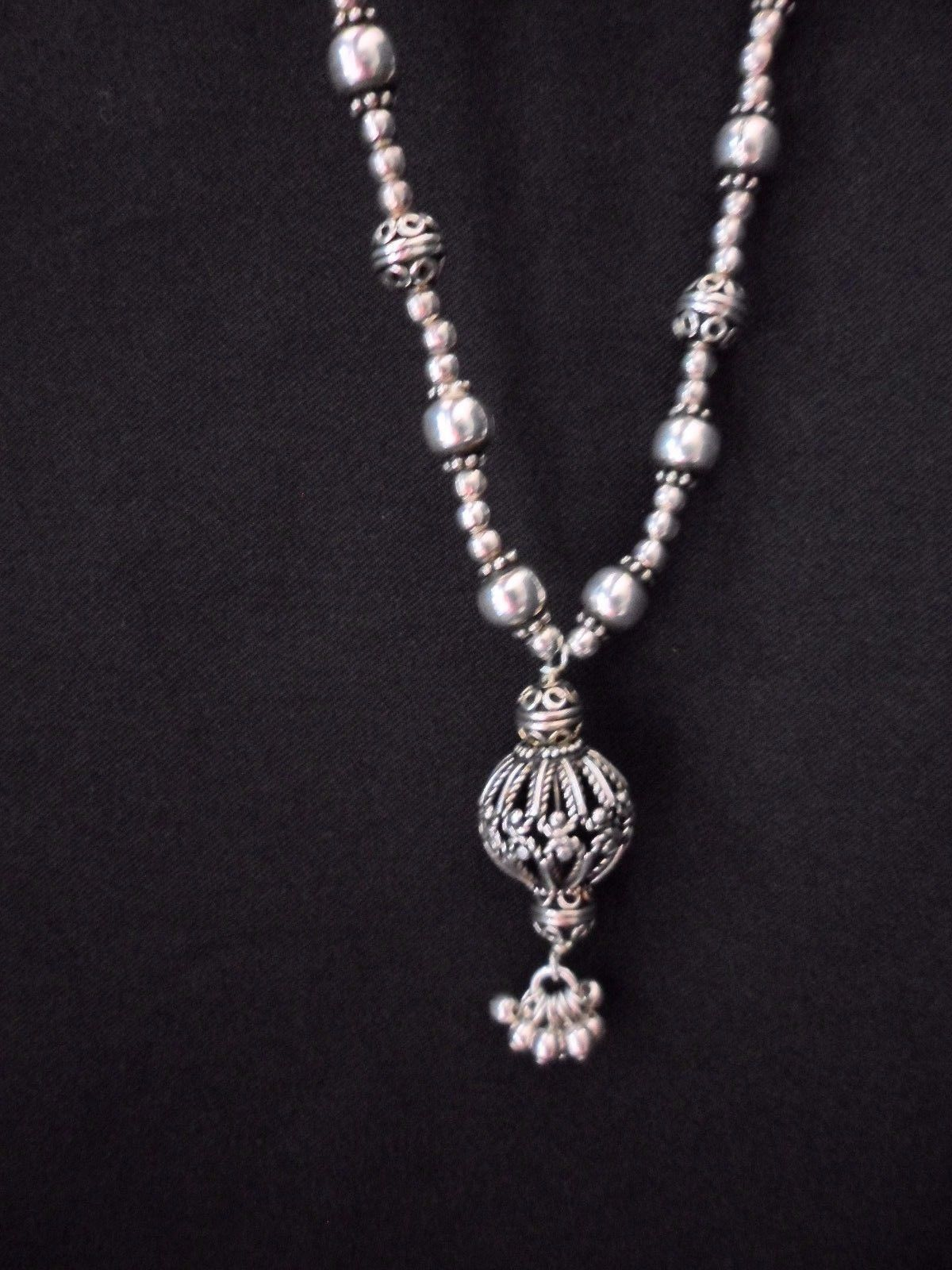 "Primary image for Sterling Silver Filagree Ball 17"" Necklace Ornate 42 grams"