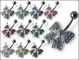 Fancy Silver Jeweled Butterfly Banana Bar Belly Ring - $10.68