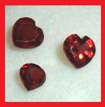 1.71ctw Lot of 3 Red GARNET Heart Shape Faceted Natural Loose Gemstones - $9.99