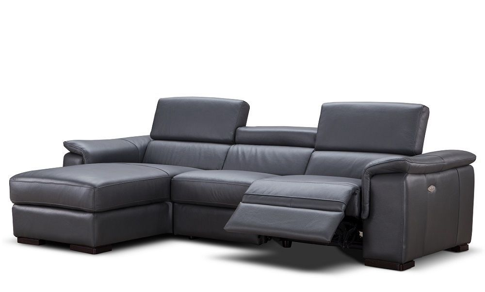 J&M Allerga Premium Italian Leather Sectional Chik Contemporary Left Hand Facing