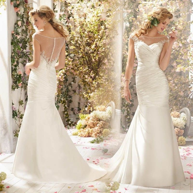 High end new plus size lace wedding dress sweep train for High end wedding dress
