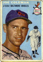 Topps #195  Joe Coleman baseball card 1954 - $15.00