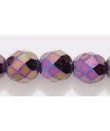 8mm Czech Fire Polish, Metallic Purple Iris Glass Beads, 25 round facet - $1.75