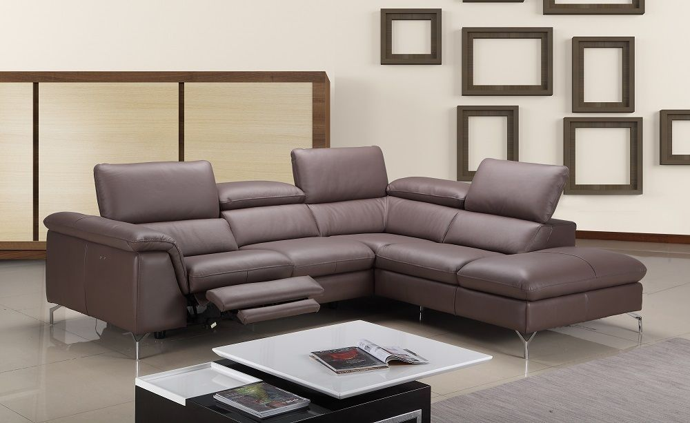 J&M Anastasia Premium Italian Leather Sectional Modern Right Hand Facing