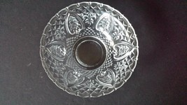 Vintage KIG Malaysia Dish Clear Pressed Glass Heart Fleur De Lis Roses 7... - $12.86