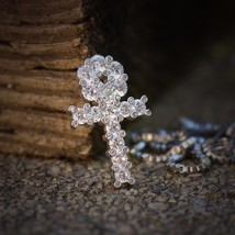 Mini Micro White Gold Plated Egyptian Ankh Charm Necklace - $22.95