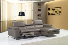 J&M Angela Top Grain Premium Leather Sectional Modern Right Hand Facing