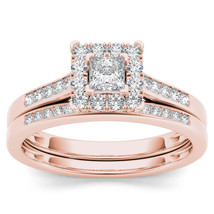 IGI Certified 10k Rose Gold 0.50 Ct Princess Diamond Halo Engagement Rin... - $569.49