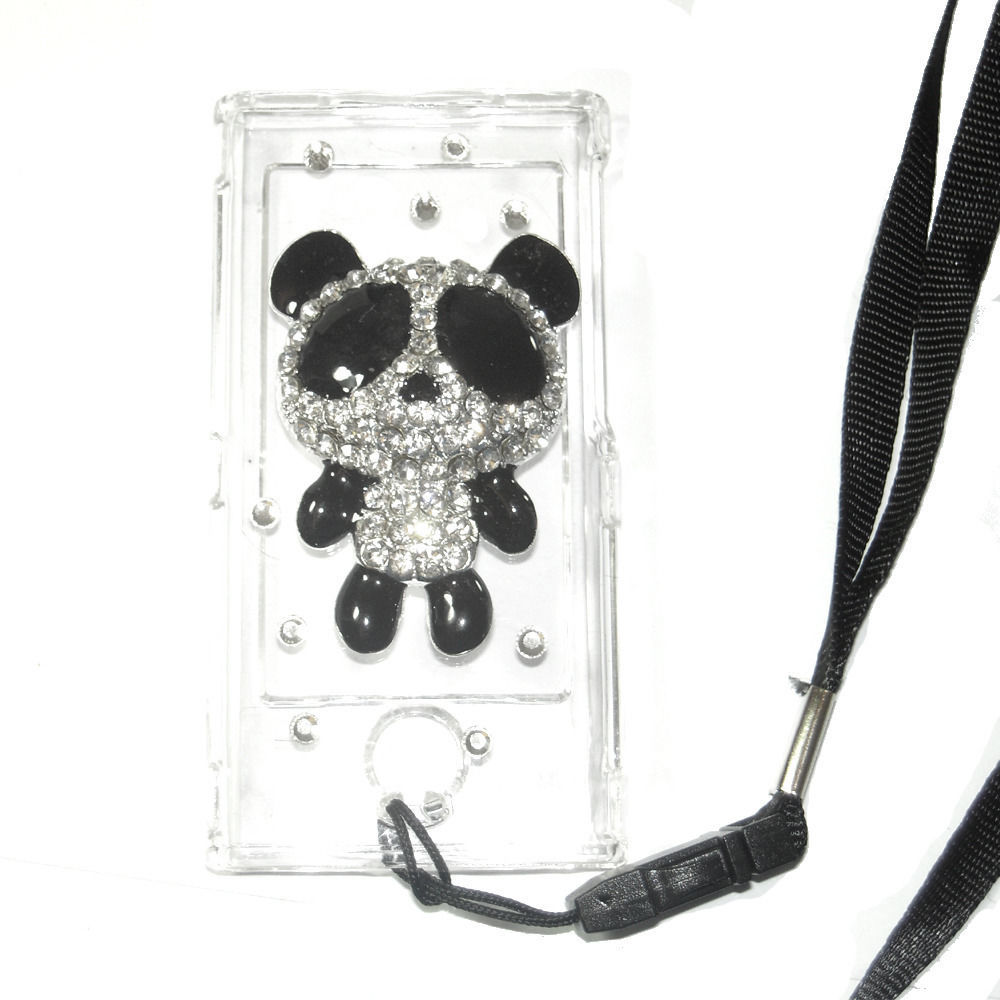 Bling Panda Crystal Hard case for ipod Nano 7th Gen 7G + detachable Strap