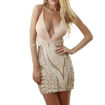 Sexy Women Sequins backless V neck Bodycon Clubwear Party Cocktail mini ... - $19.00