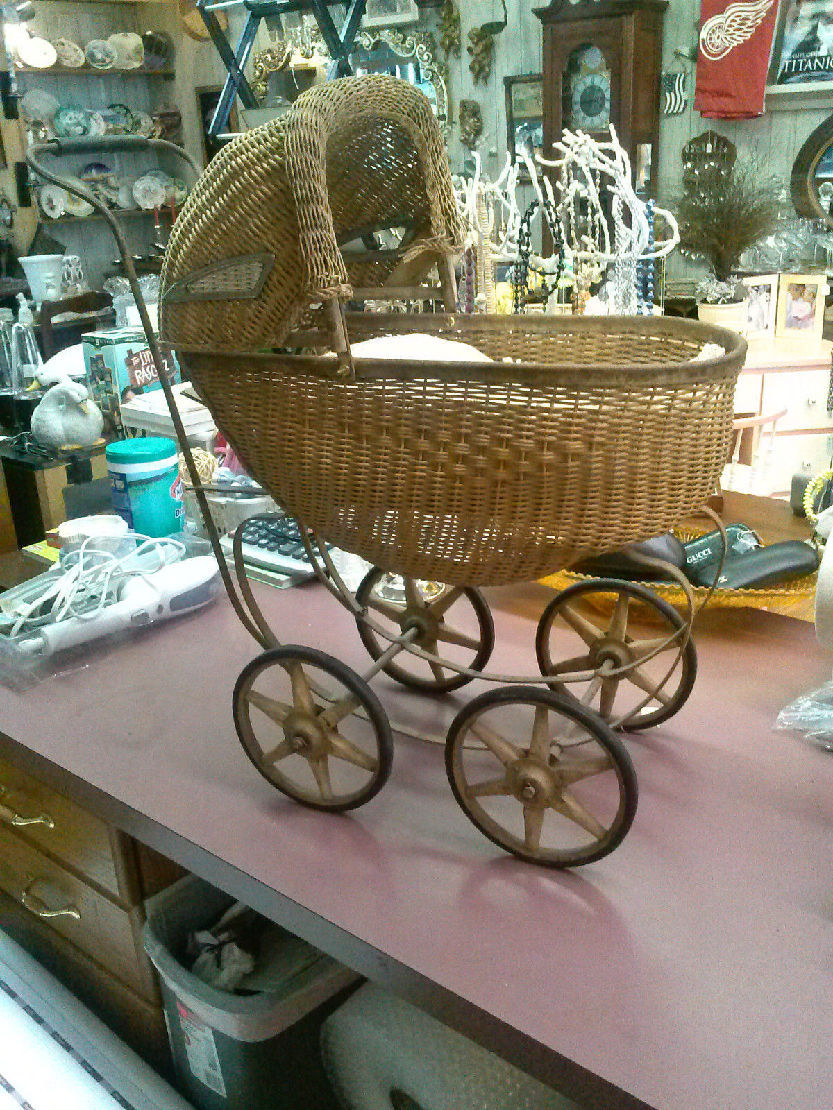 Baby Carriage/Buggy Antique Doll Wicker Stroller Pram Victorian Canopy Convertib