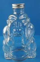 "See No Evil Monkey Clear Glass Bottle Screw Top Cap 8"" tall - $29.91"
