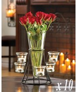 Lot of 10 CIRCULAR CANDLE STANDS Centerpiece with Vase Iron 6 Cup Candel... - $169.95