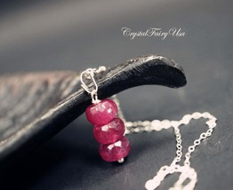 Sterling Silver Fuchsia Tourmaline Necklace - Fuchsia Stone Necklace - W... - $32.00