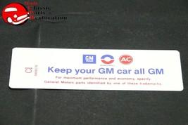 """69-70 Camaro, Nova 307 Air Cl EAN Er """"Keep Your Gm All Gm"""" Code """"Ci"""" Decal - $16.23"""