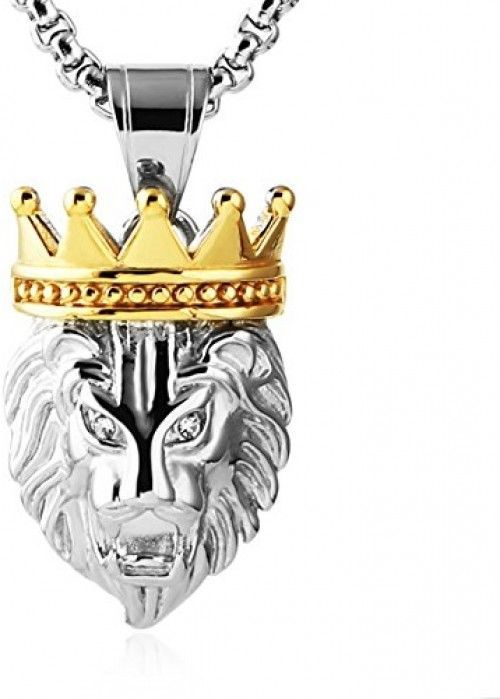 HZMAN Men's Silver Gold Tone Stainless Steel Lion King Pendant Necklace Cable