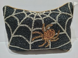 """Witch Crafters Halloween Beaded Spider Web Creepy Black Pillow Decor 10""""... - £28.06 GBP"""