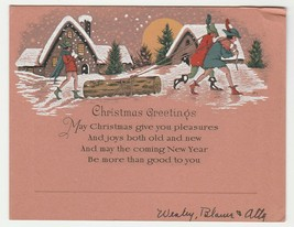 Vintage Christmas Card Young Men Drag a Log Past Cottages 1930's - $7.91