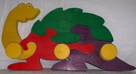 Kids Dinosaur Puzzle Wall Mount Coat Hanger 3 Pegs Hat Rack Clothes Hang... - $19.79
