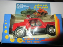 Police Car or Fire Chief Car , Vintage  , New In Box , Battery Operated - $21.69