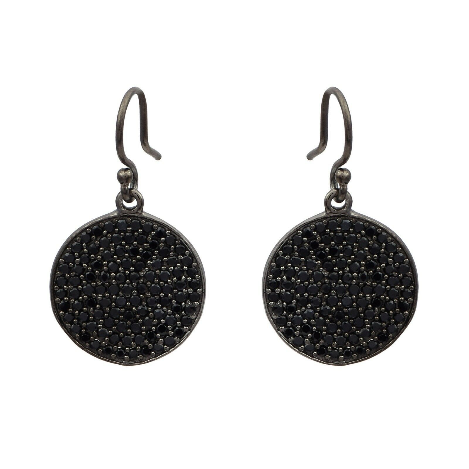 Round Cut Black Spinel Gemstone 925 Sterling Silver Cluster Circle Disc Earring