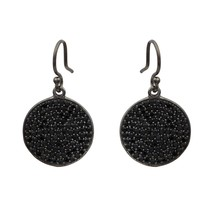 Round Cut Black Spinel Gemstone 925 Sterling Silver Cluster Circle Disc ... - $32.67