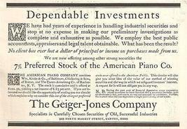 Geiger Jones Company Canton Ohio Stock Investments Industrial Securities... - $15.99