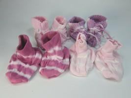 4 Pairs Pink Purple Tie Dyed Baby Booties Girl Girls Infant Baby Tie Dye... - $9.89