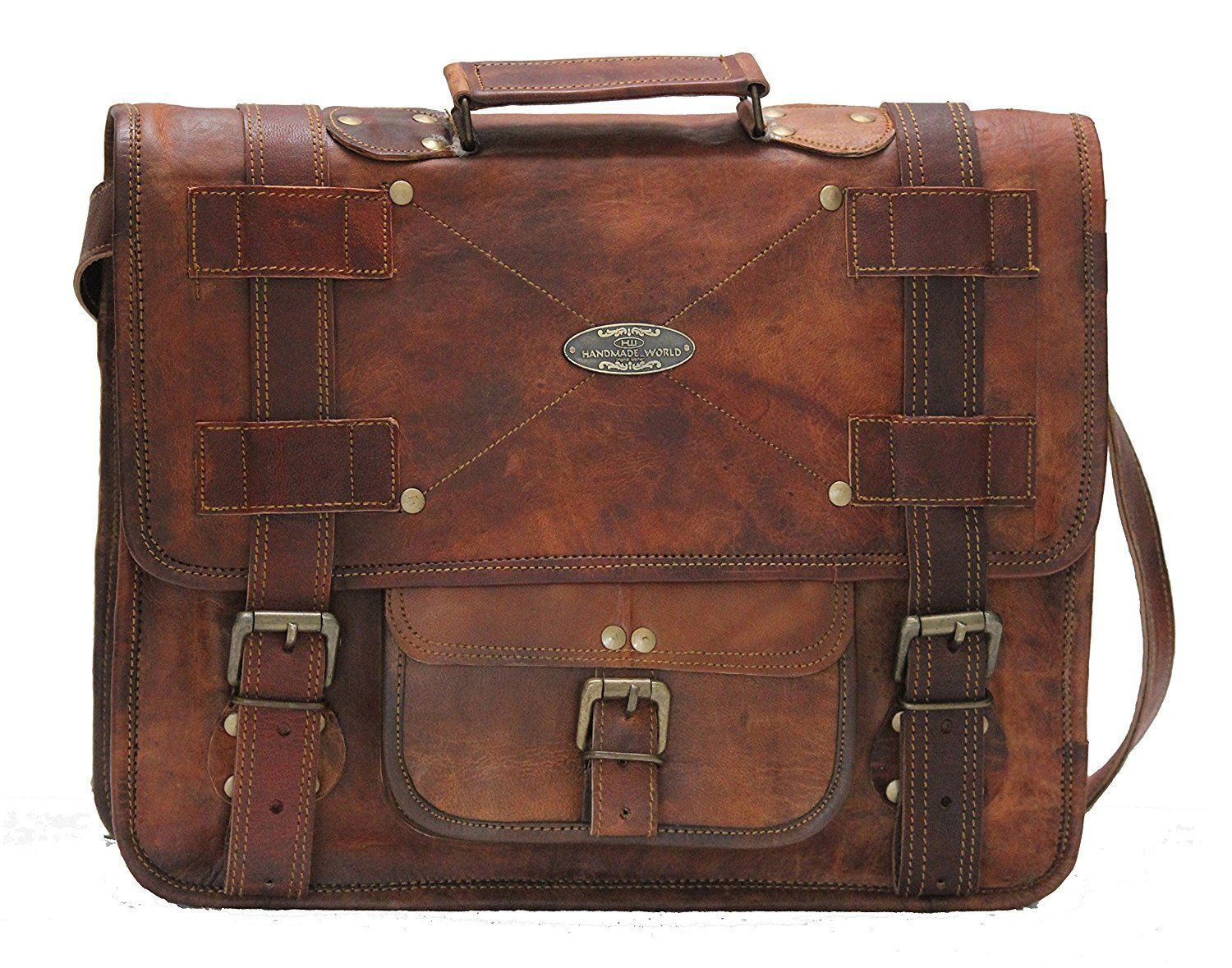 Men's Leather Messenger Shoulder Briefcase Bag For Business Work Office Use
