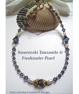 SWAROVSKI TANZANITE AND FRESHWATER PEARL 14-K GOLDFILLED ANKLET - SIZE 9... - $11.50