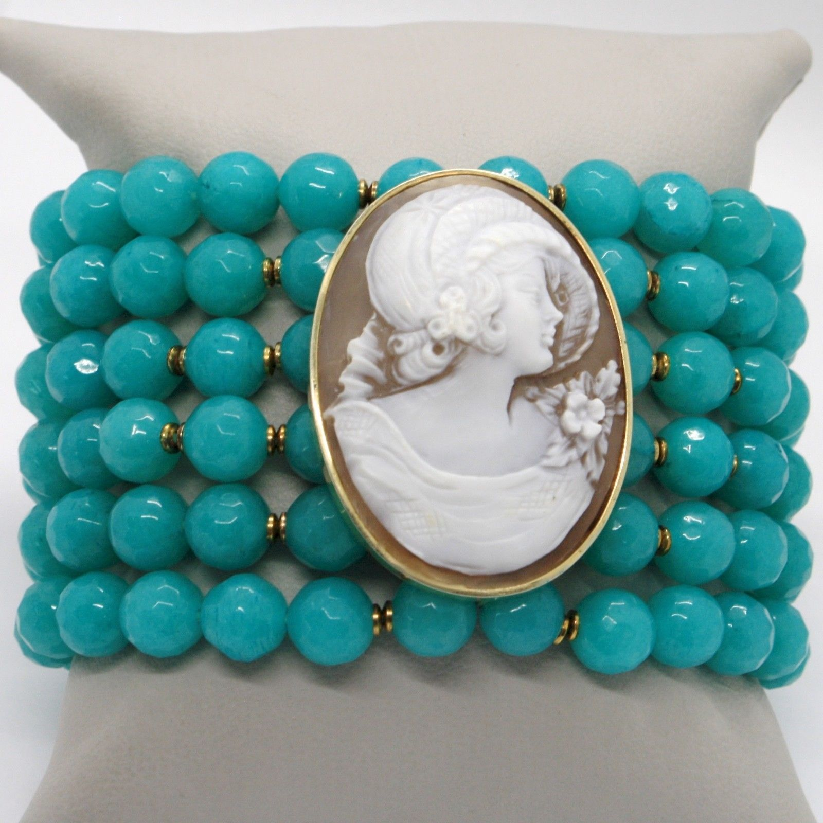 925 STERLING SILVER BRACELET BEAUTIFUL LADY FLOWER CAMEO & TURQUOISE JADE ITALY
