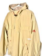 Adidas Men;s Tactical Windbreaker Jacket Hooded Nylon Beige & Red Size M... - $38.00