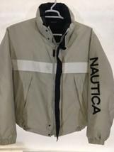 Nautica Down & Waterfowl Puffer Jacket Reversible Beige Navy Spellout Me... - $104.50