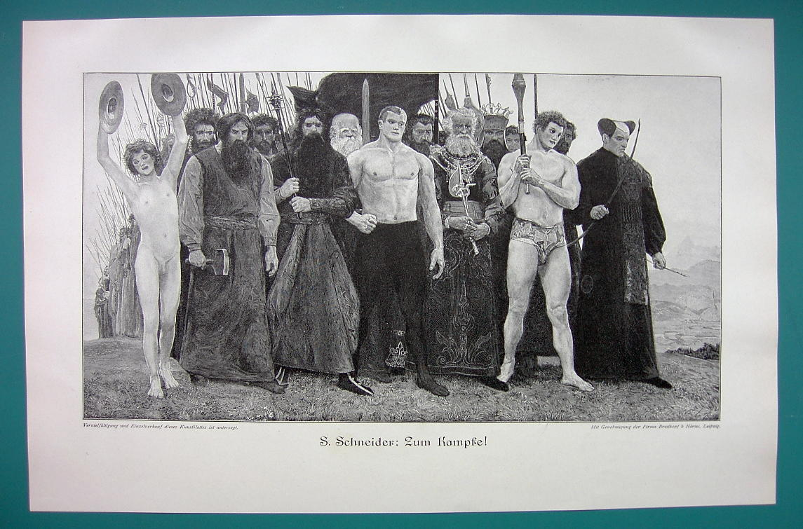 TO BATTLE! Weird Collection of Warrior Naked Musician - VICTORIAN Era Print