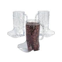 "Clear Plastic Cowboy Boot Mugs  (12 Pack) 6 1/2"" 17 oz. - £23.58 GBP"