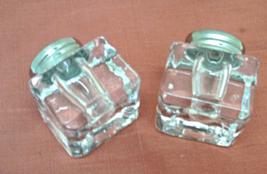 Vintage Square Crystal Salt & Pepper Shakers // Elegant Clear Crystal S&... - $9.50