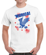 343 Merica mens T-shirt fourth of july fireworks bald eagle patriot USA ... - £12.08 GBP+