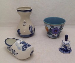 Holland Delft Dutch Pottery Pieces, Bell, Shoe, Vase and Flower Pot, Signed - $45.99