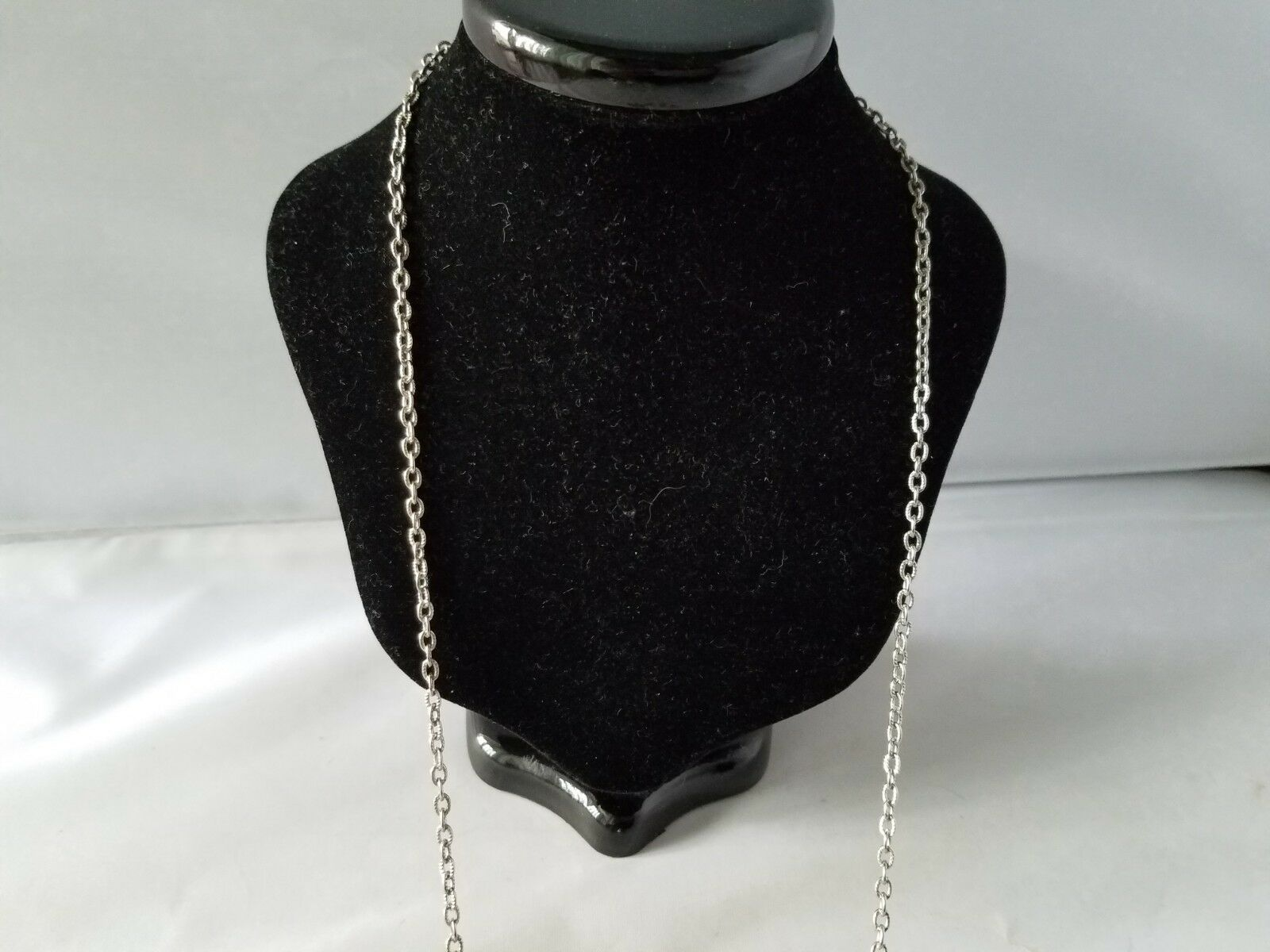 Vintage Silver Tone Chain Charm Necklace & Matching Screw Back Enamel Earrings