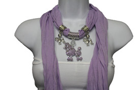 Women Lavender Fashion Scarf Fabric Purple Silver Dog Poodle Pendant Necklace - $19.59
