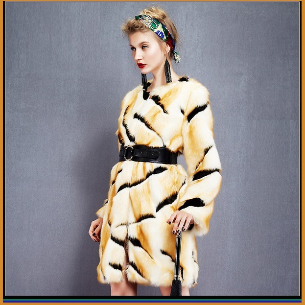 Kitten Soft Luxury Big Tiger Stripes Faux Fur with Wide Belt Long Coat Jacket