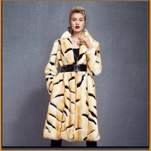 Kitten Soft Luxury Big Tiger Stripes Faux Fur with Wide Belt Long Coat Jacket  image 2