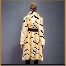 Kitten Soft Luxury Big Tiger Stripes Faux Fur with Wide Belt Long Coat Jacket  image 3